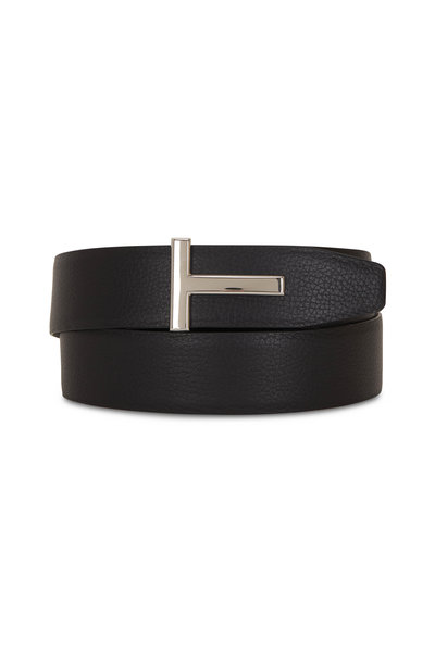 Tom Ford - Black Glossy & Grained Leather Reversible T-Belt