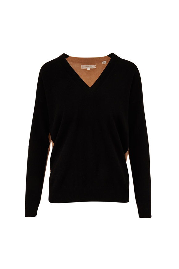 Chinti & Parker Black & Camel Wool & Cashmere V-Neck Sweater