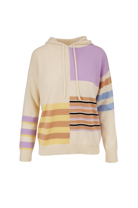 Chinti & Parker Ivory Multicolor Mixed Stripe Hoodie