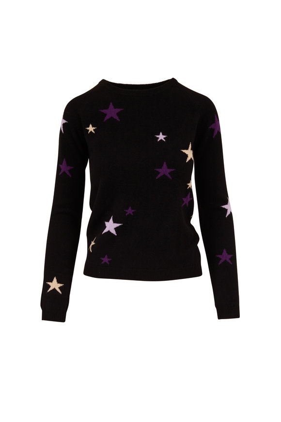 Chinti & Parker Black Cashmere Star Crewneck Sweater