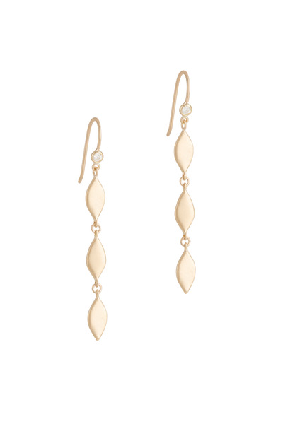 Jamie Wolf - Gold Petite Three Tier Leaf Diamond Earrings