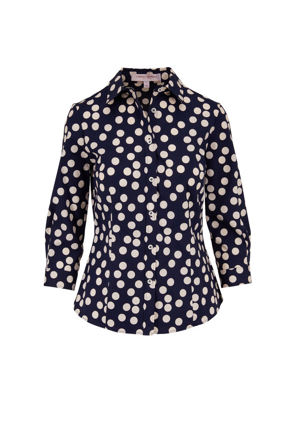 Carolina Herrera Navy & White Polka Dot Blouse