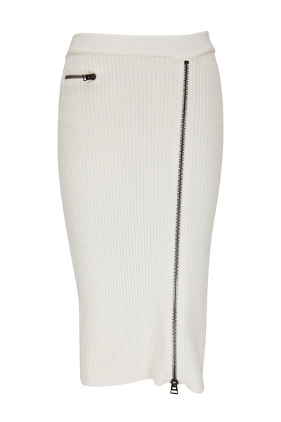 Tom Ford - White Wool Front Zip Ribbed Knit Skirt