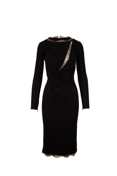 Tom Ford - Black Jersey Lace Inset Long Sleeve Dress