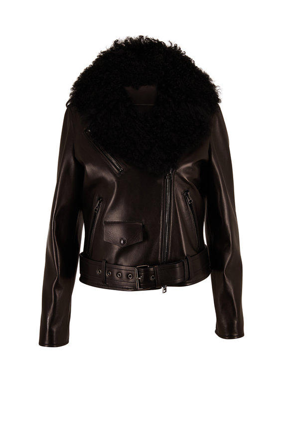 Tom Ford Black Leather Moto Jacket With Shearling Vest