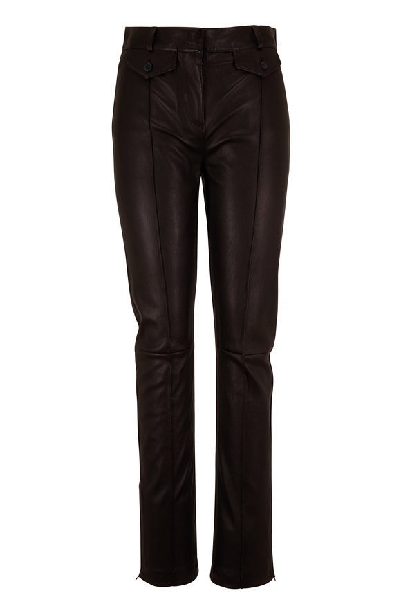 Tom Ford Black Leather Zip Cuff Pant