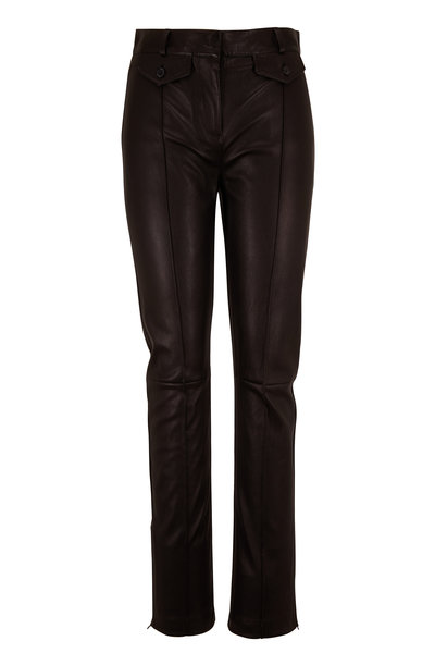 Tom Ford - Black Leather Zip Cuff Pant