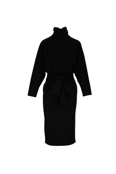 Tom Ford - Black Cashmere Long Sleeve Belted Knit Dress