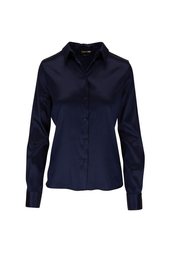 Tom Ford Midnight Stretch Silk Button Down Blouse