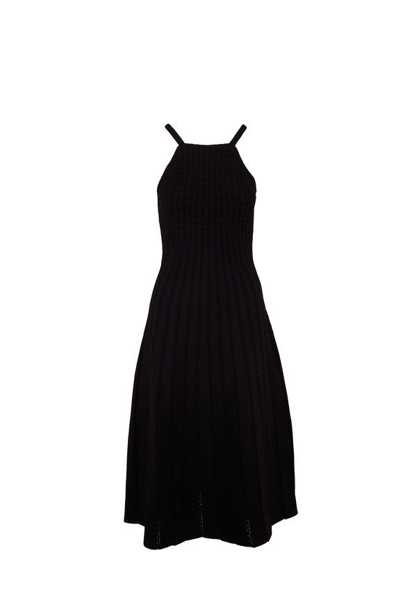 Carolina Herrera Black Lace Stitch Sleeveless Dress