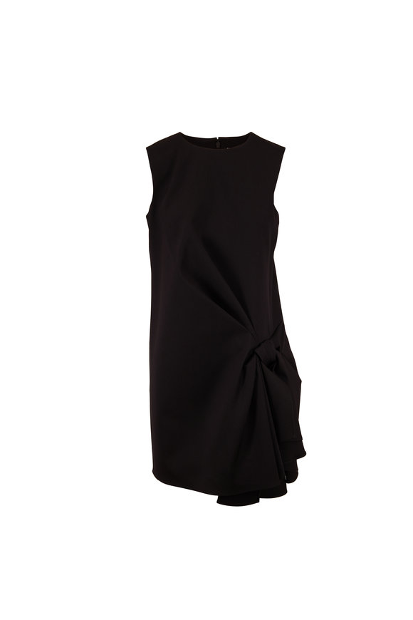 Carolina Herrera Black Stretch Wool Sleeveless Shift Dress