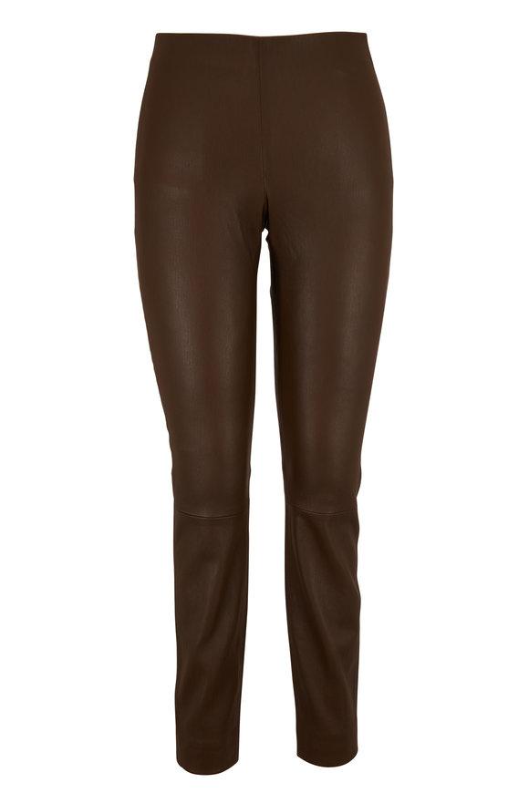 Vince Dark Olive Leather Crop Pant