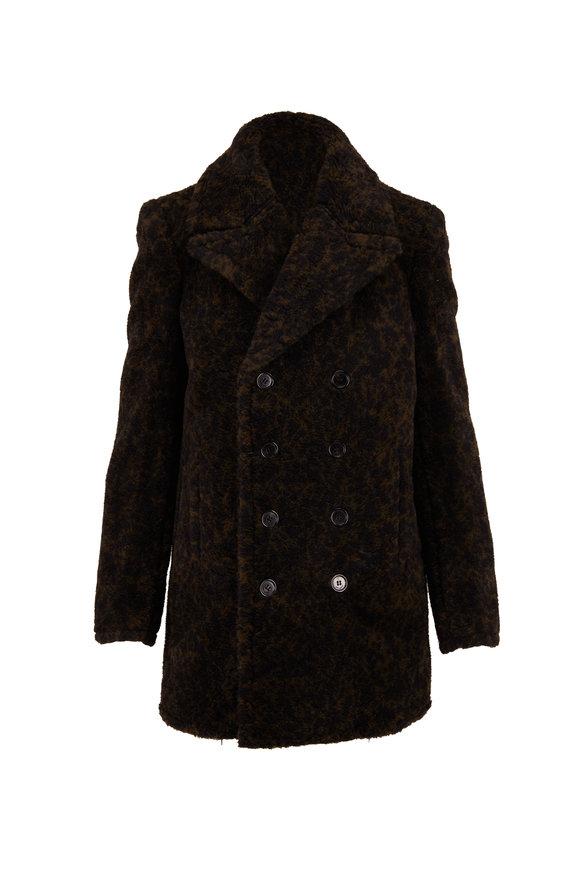 Saint Laurent Green & Black Cracked Wool Peacoat