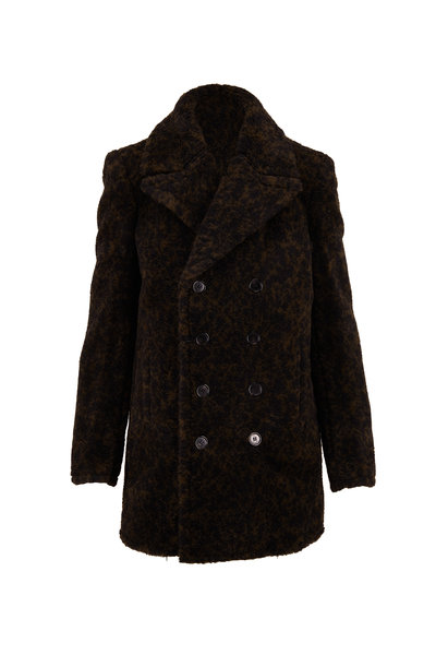 Saint Laurent - Green & Black Cracked Wool Peacoat