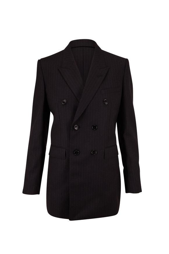 Saint Laurent Black Wool Tonal Stripe Double-Breasted Jacket