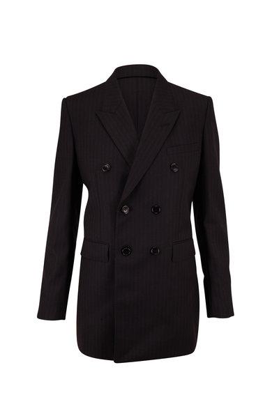 Saint Laurent - Black Wool Tonal Stripe Double-Breasted Jacket