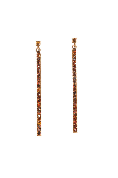 Yossi Harari - Lilah Rose Gold Brown Diamond Stick Earrings