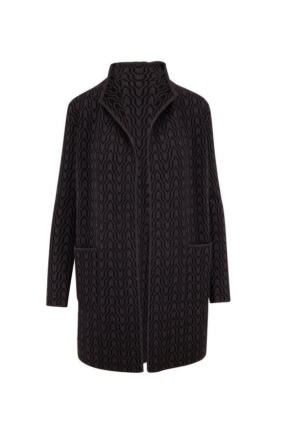 Kinross Charcoal & Black Cashmere Reversible Open Cardigan