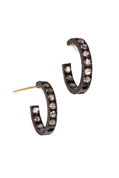 Yossi Harari - Lilah Pavé-Set Cognac Diamond Small Hoops