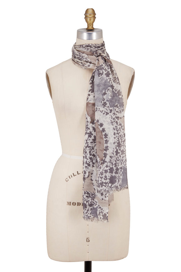 Kinross Suede Cashmere & Silk Mini Floral Print Scarf