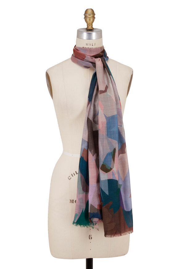 Kinross Verde Wool Stained Glass Floral Print Scarf