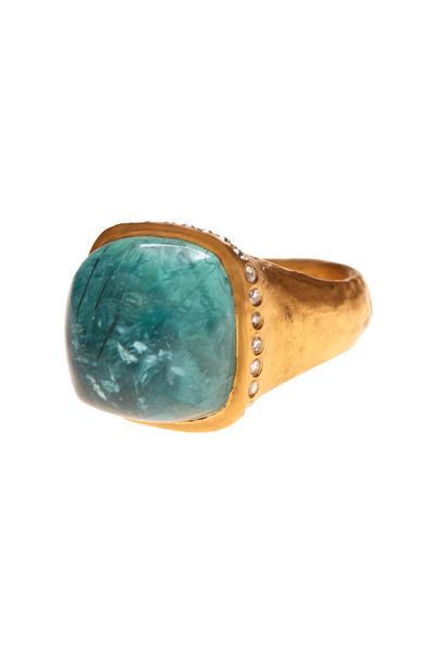 Yossi Harari - Sofia Gold Paraiba Tourmaline Dome Diamond Ring