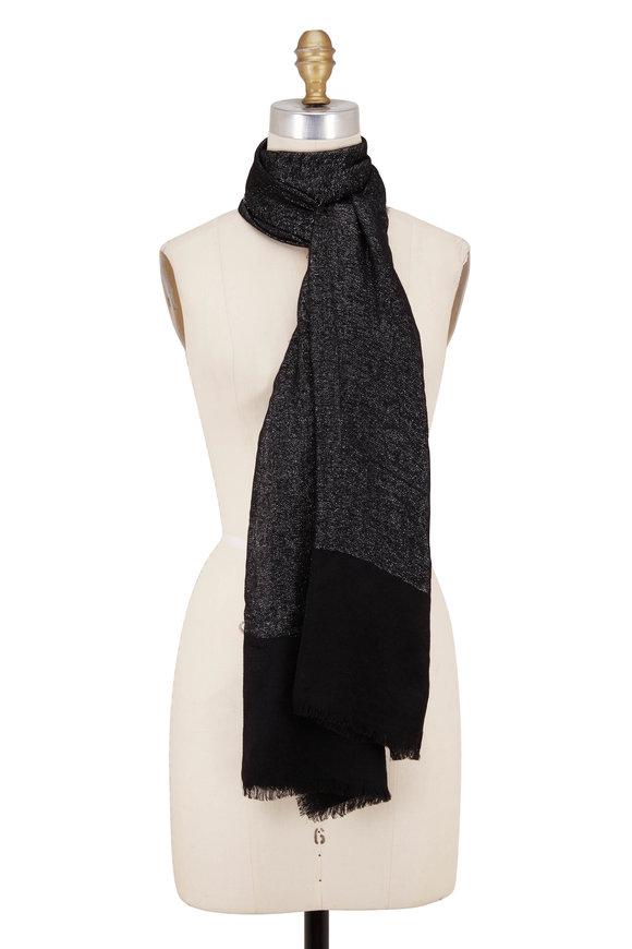 Kinross Black Wool & Cashmere Lofty Lurex Shawl