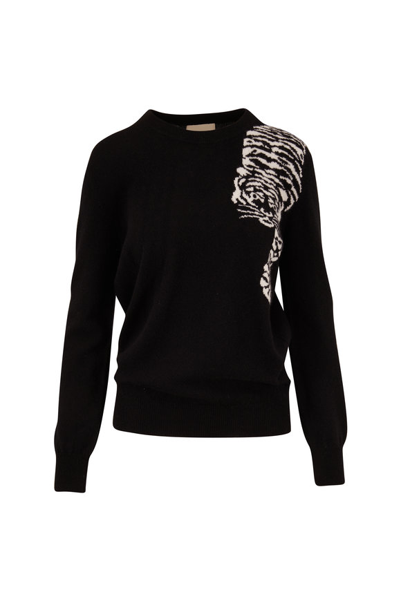 Jumper 1234 Black Cashmere Creeping Tiger Crewneck Sweater