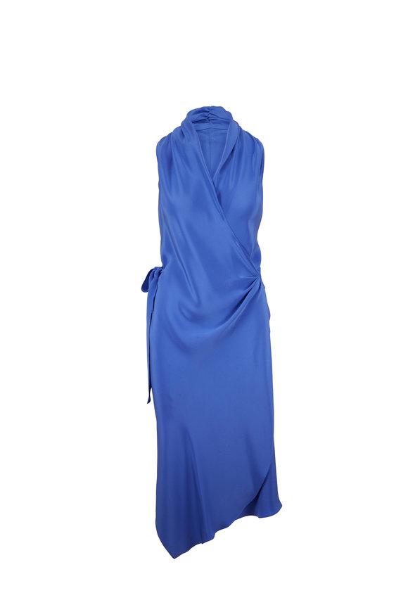Peter Cohen Victor Blue Sleeveless Silk Wrap Dress