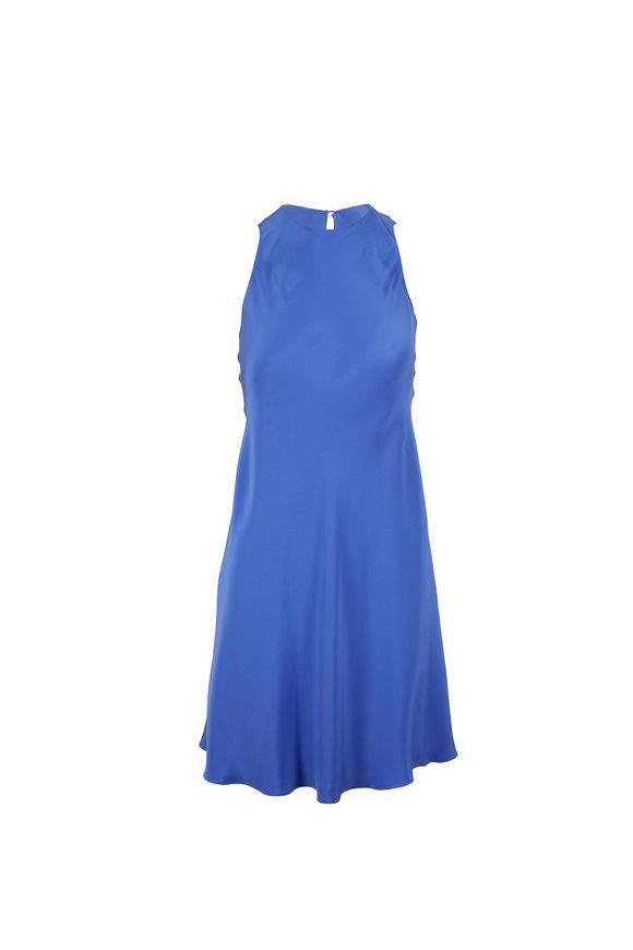 Peter Cohen Royal Blue Silk Keyhole Shift Dress