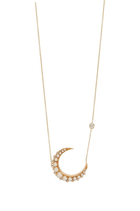 Renee Lewis 18K Yellow Gold Pearl & Diamond Moon Necklace