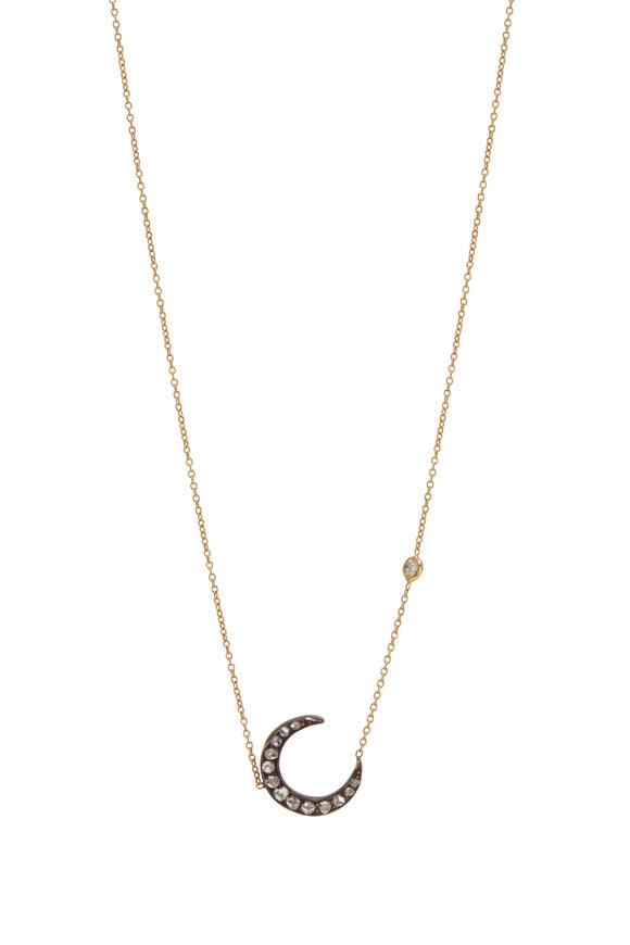Renee Lewis 18K White Gold Antique Diamond Moon Necklace
