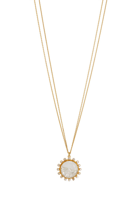 Renee Lewis 18K Yellow Gold Diamond Rimmed Shake Necklace