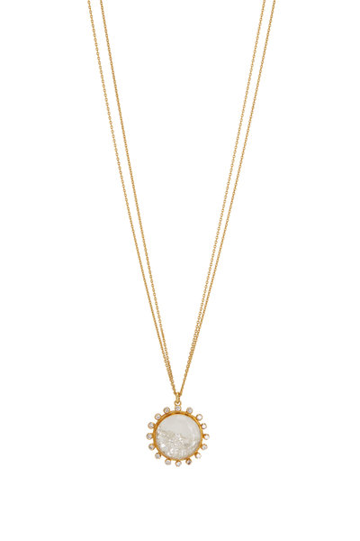 Renee Lewis - 18K Yellow Gold Diamond Rimmed Shake Necklace