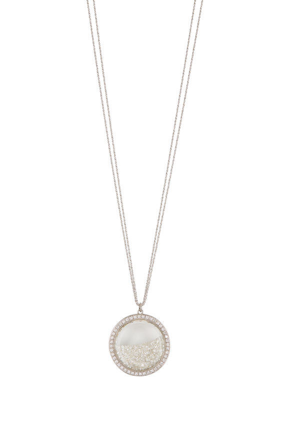 Renee Lewis 18K White Gold Diamond Rimmed Shake Necklace