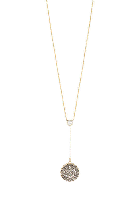 Renee Lewis 18K Yellow Gold Y Pavé Back Shake Necklace