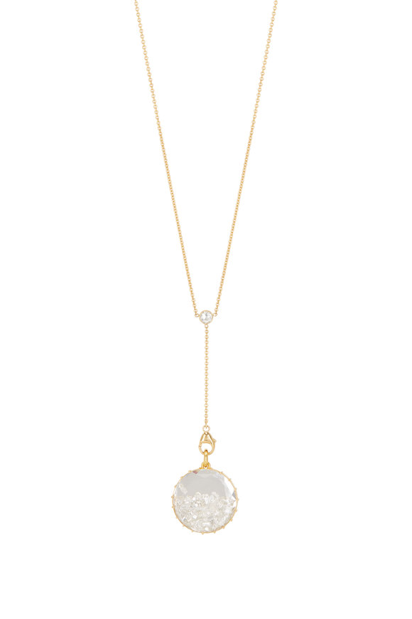 Renee Lewis 18K Yellow Gold Y Quartz Back Shake Necklace