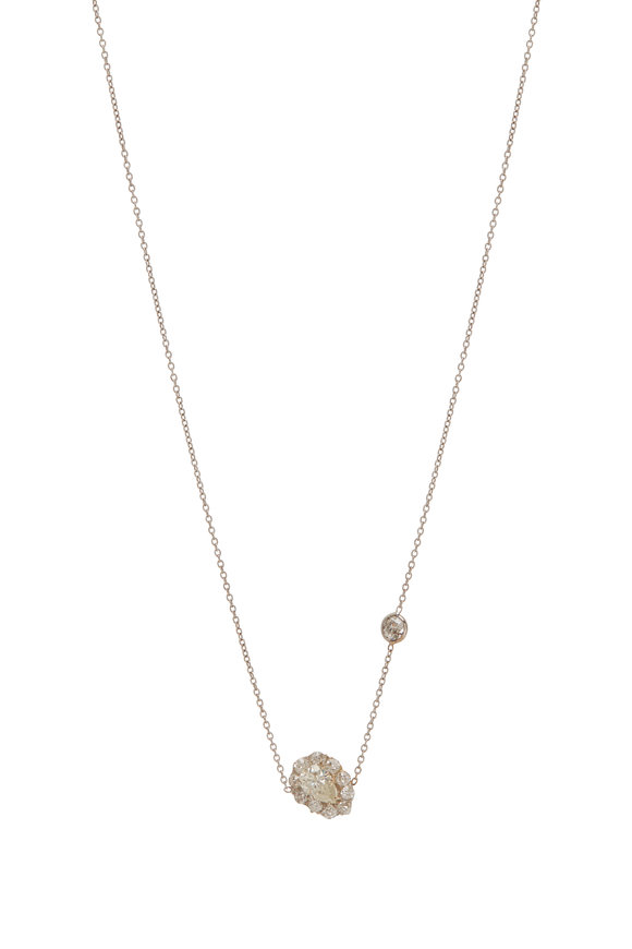 Renee Lewis 18K White Gold Diamond Rimmed Pendant Necklace