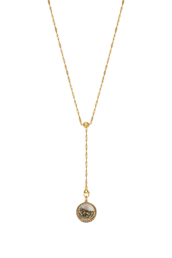 Renee Lewis 22K Yellow Gold Y Chain Multicolor Shake Necklace