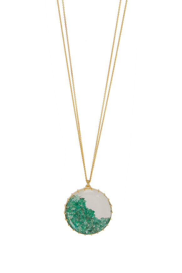 Renee Lewis 18K Yellow Gold Antique Emerald Shake Necklace
