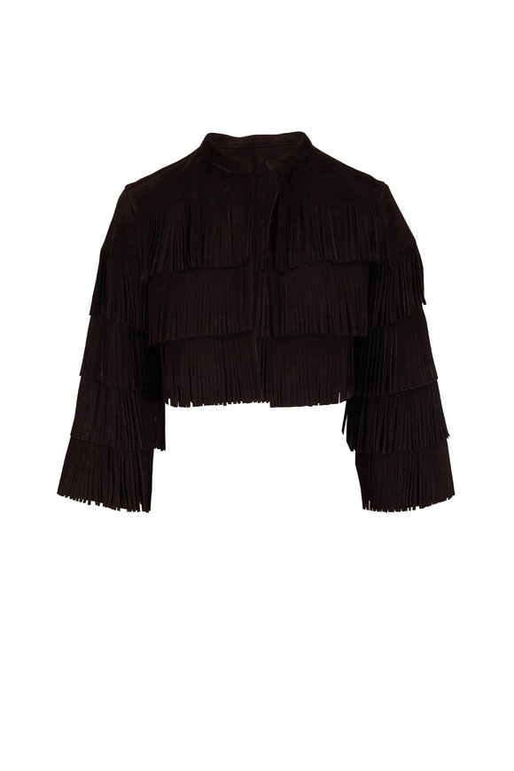 Dorothee Schumacher Velour Softness Black Suede Fringe Jacket