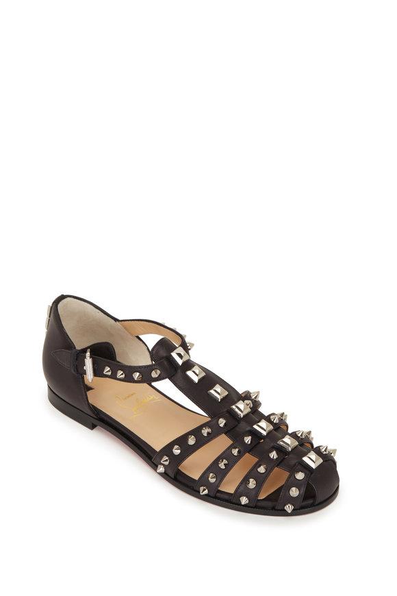 Christian Louboutin Loubiclou Black Leather Caged Flat Sandal