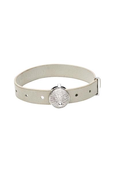 Eddie Borgo - Silver & Leather Strap Pavé Crystal Cone Bracelet