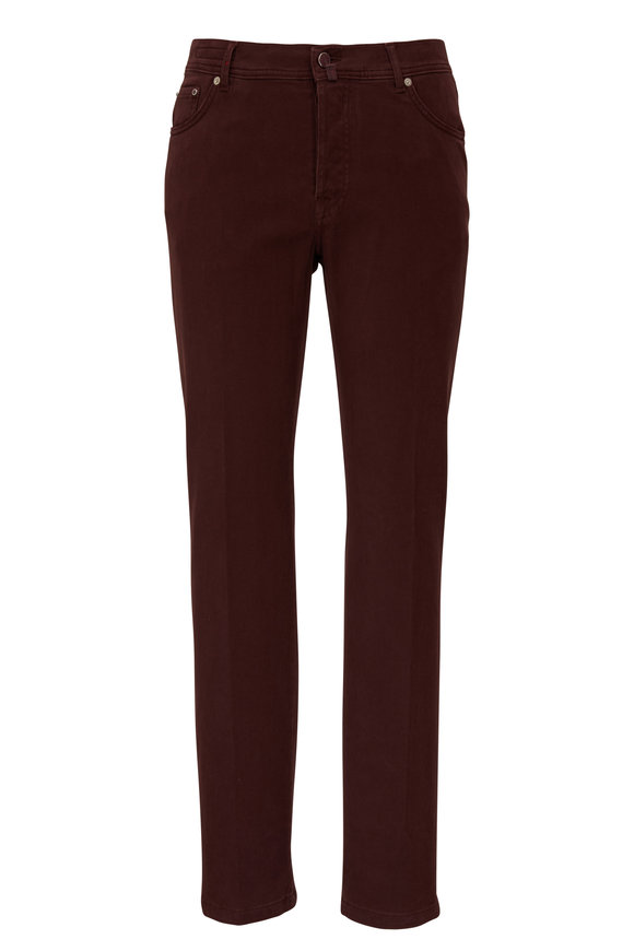 Kiton Burgundy Stretch Cotton Five Pocket Pant