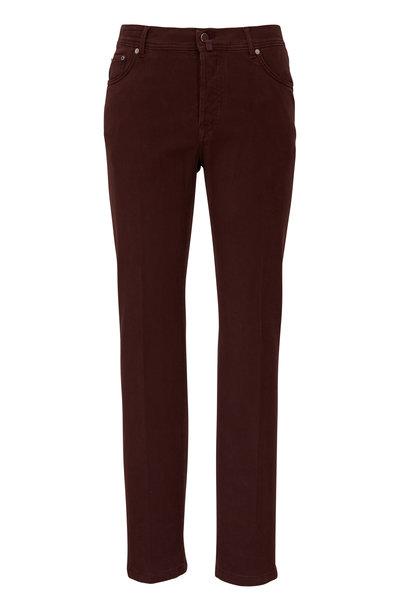 Kiton - Burgundy Stretch Cotton Five Pocket Pant