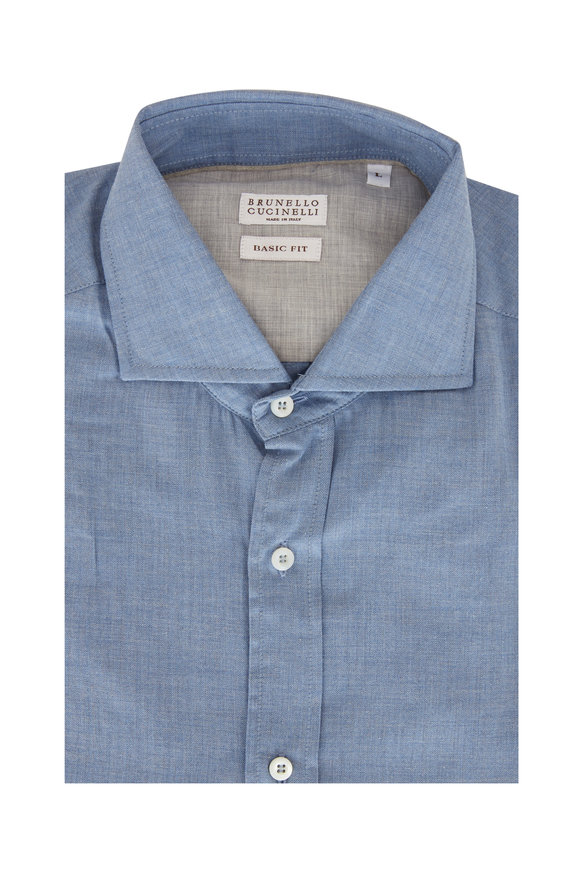 Brunello Cucinelli Blue Tonal Chevron Basic Fit Sport Shirt