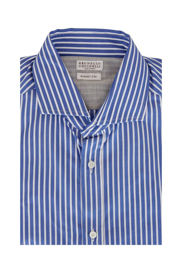 Brunello Cucinelli Deep Blue & White Stripe Basic Fit Sport Shirt