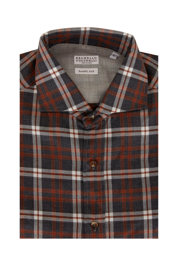 Brunello Cucinelli Gray & Orange Plaid Basic Fit Sport Shirt