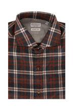 Brunello Cucinelli - Gray & Orange Plaid Basic Fit Sport Shirt