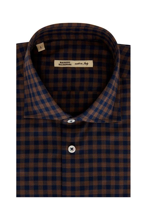 Maurizio Baldassari Brown & Navy Blue Gingham Sport Shirt